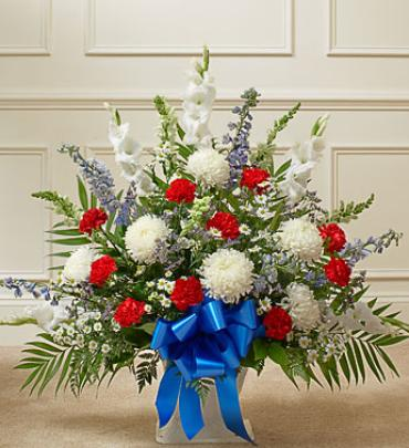 Red White And Blue Sympathy Floor Basket